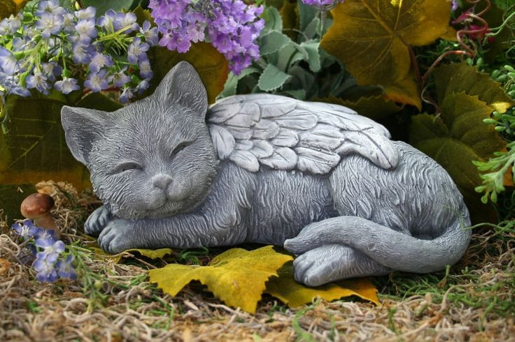 Angel Cat Statue - Cat Memorial Garden Sculpture in Concrete. $49.99, via Etsy.