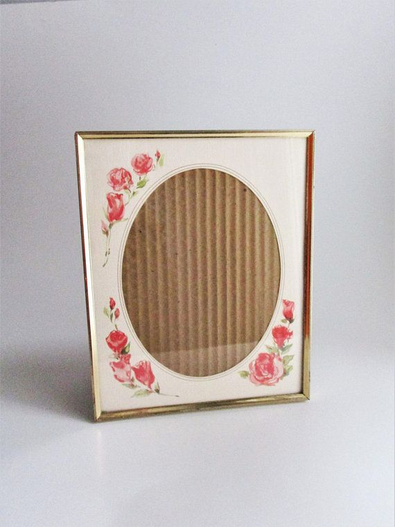 Vintage Frame Rose Matte Metal Gold Tone Intercraft 1982 Etched Beaded Design 8 X 10 Picture Frame Tabletop With Images Vintage Frames