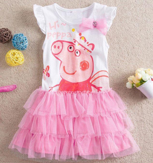2017 summer baby girls clothes tutu peppa pig dress