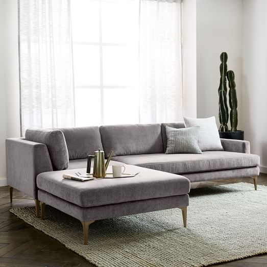 With its modern form, extra-deep seat and crisp tailoring, our spacious Andes Sectional has serious presence but feels airy and light thanks to the thin frame and cast metal legs | shop now at west elm