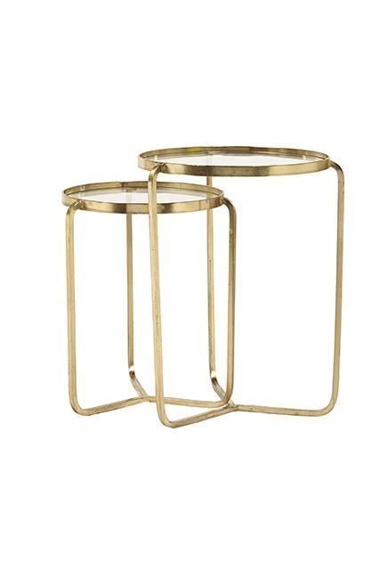 Deco Tri Round Nest Tables   Set Of 2 Available Antique Brass Or Silver  #globewest