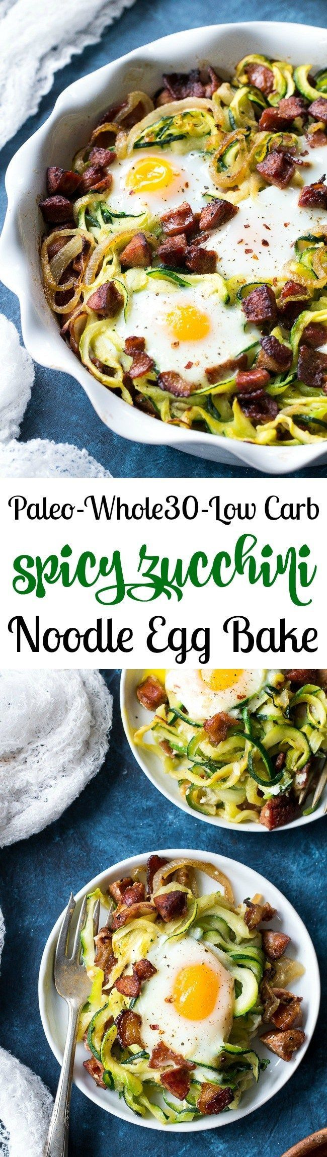 This spicy zucchini noodle egg bake is loaded with sautéed onions, spicy sausage, crispy bacon and of course eggs!  Perfect for breakfast, lunch or dinner, it's Paleo, Whole30 and low carb.