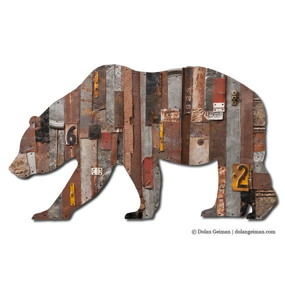 Grizzly Bear Wall Sculpture, In the Woods Collection (Large), Found Object Artwork on Etsy, $1,500.00