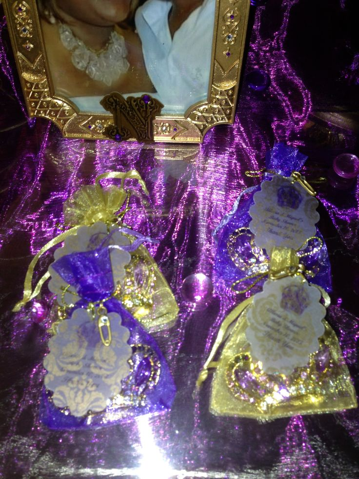 baby shower favors crown pins in purple gold organza bags baby