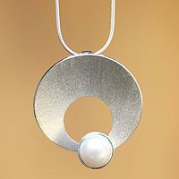Cultured pearl pendant necklace, 'Inca Moon' from @NOVICA, They help #artisans succeed worldwide.