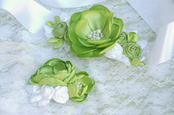 Apple green bridal corsage sash belt wedding flower by MkeFlower