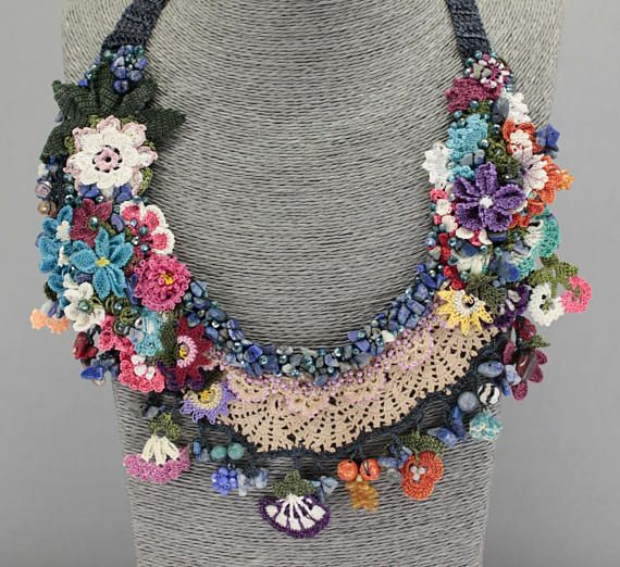 Check out this item in my Etsy shop https://www.etsy.com/listing/524433387/crochet-necklace-bib-necklace-crochet