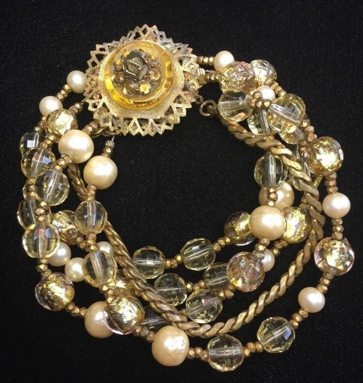Miriam Haskell Topaz Rhinestone Citrine Gold Foil Bead Bracelet   eBay