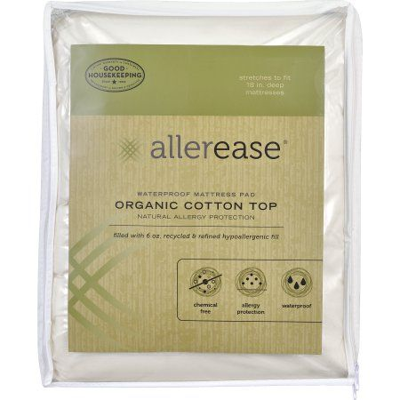 AllerEase Naturals Organic Cotton Waterproof Mattress Pad, White
