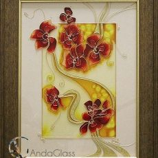 Üvegfestett falikép - Virágok