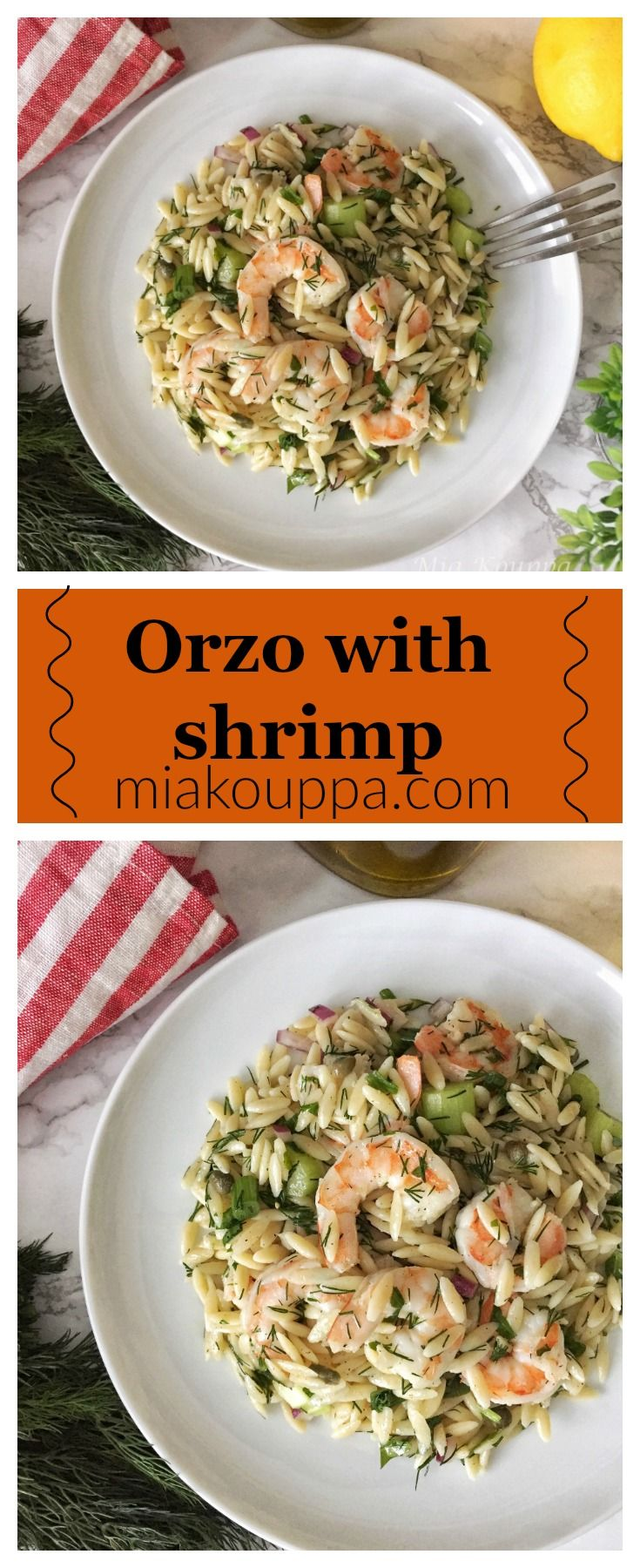 Orzo with shrimp (Κριθαράκι με γαρίδες).  A simple and delicious recipe, that you can make for either dinner, or side salad.  #shrimp #easyrecipes #nistisima