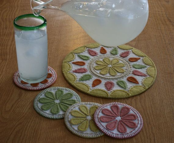 summer delight pdf penny rug pattern wool felt applique embroidery drink coasters juice jug mat cottage decor blanket stitch easy peasy - Drink Coasters
