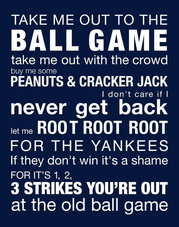 New york Yankees Baseball Gift   Gift for Dad Take Me Out to the Ball by karimachal, $21.00