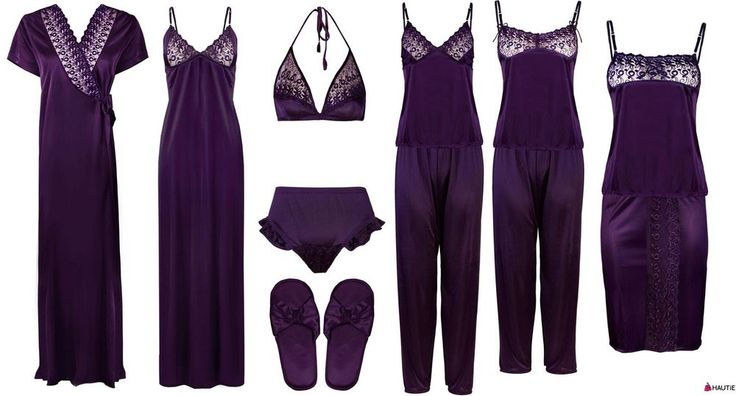 LADIES NIGHTIE SETS WOMENS PYJAMA SET ROBE SATIN GOWN SHORTS SKIRT PJ'S 6-8 in Clothes, Shoes & Accessories, Women's Clothing, Lingerie & Nightwear   eBay