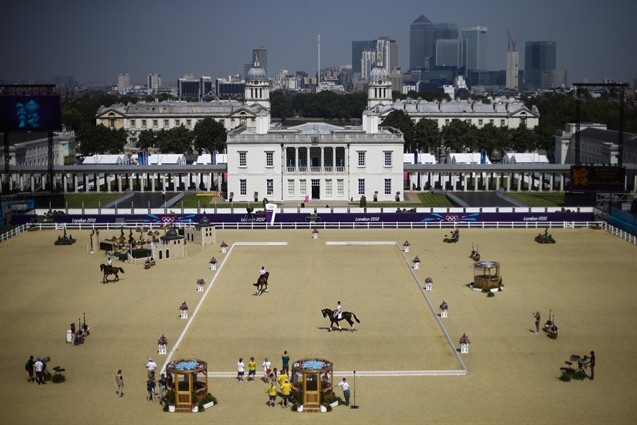 The Equestrian Eventing team of New Zealand train in the arena at Greenwich Park, the site for the equestrian and modern pentathlon events at the 2012 Summer Olympics July 26.