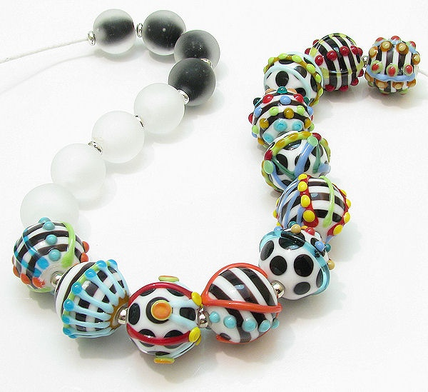 CLO Handmade glass lampwork beads - Hat Box Brights: black, white, turquoise, red, yellow, green, blue