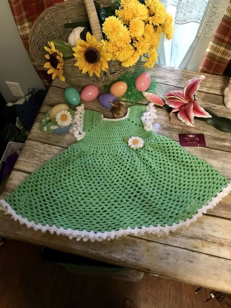 Excited to share the latest addition to my #etsy shop: Easter crochet dress-size 2T-Green with white trim-sunflower headband, little girls sundress- http://etsy.me/2DTTw2t #clothing #children #dress #green #2t #sundress #littlegirlsoutfit #church #easter