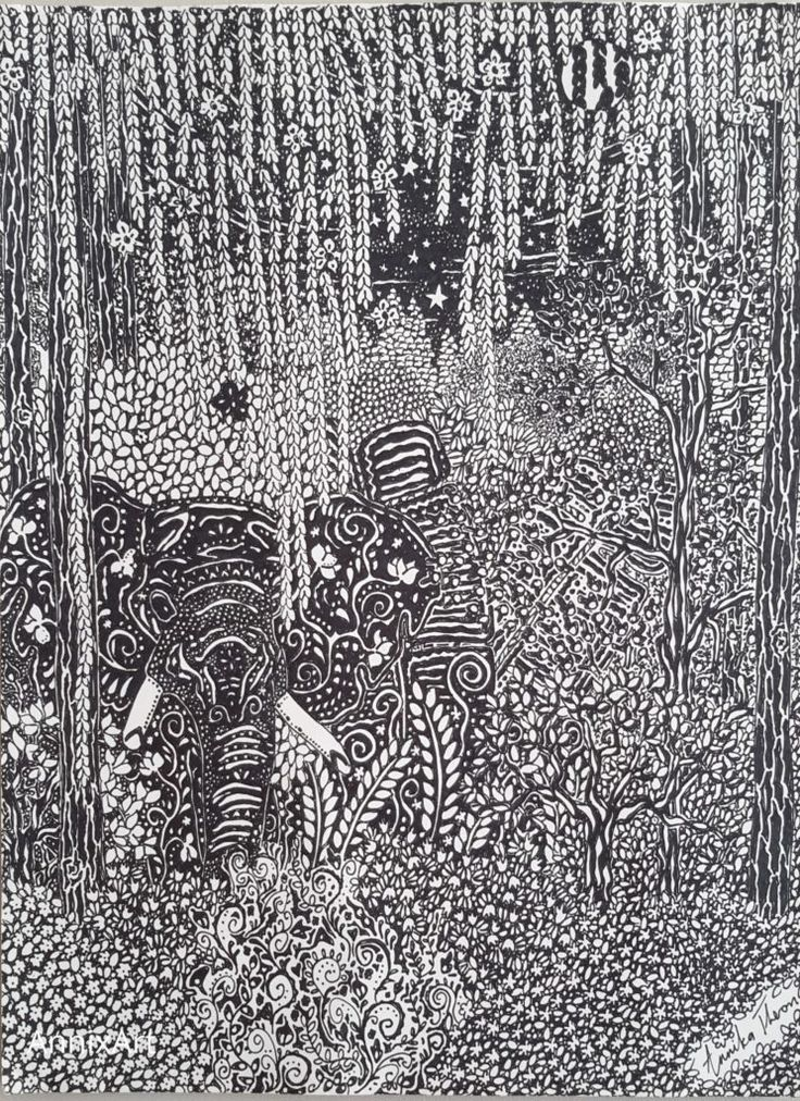 Detailed black and white drawing of an elephant. Starry night time forest illustrations. Art by AnnixArt.