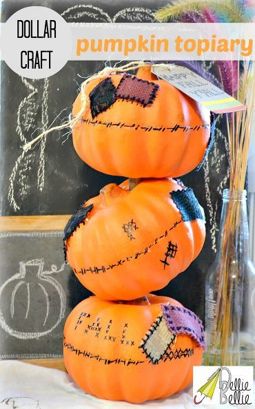 how to make a tipsy pumpkin topiary with dollar tree pumpkins, crafts, seasonal holiday d cor