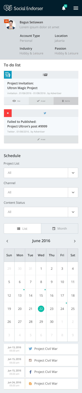 UI/UX design for socialendorser.com