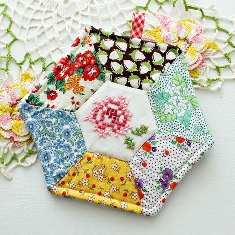 Rose Cross Stitch and Patchwork Vintage Fabric Potholder - Cottage Stitches Shop