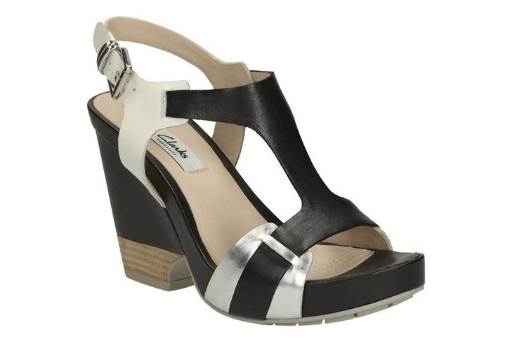 Womens Casual Sandals |  Black combination heeled sandals are stylish and versatile. The ankle strap is embellished with a metallic buckle and a mix of black.