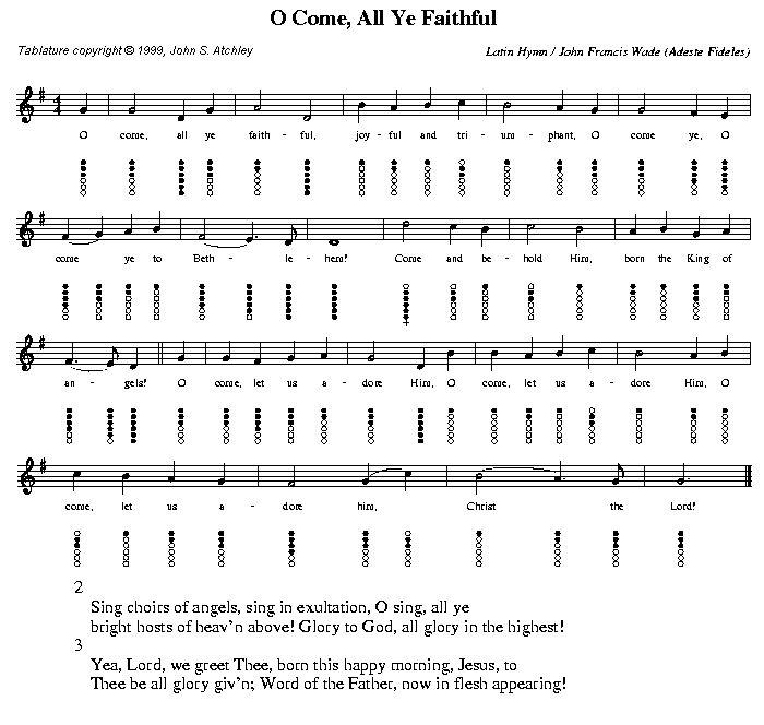 Harmonica u00bb Harmonica Tabs Oh Come All Ye Faithful - Music Sheets, Tablature, Chords and Lyrics