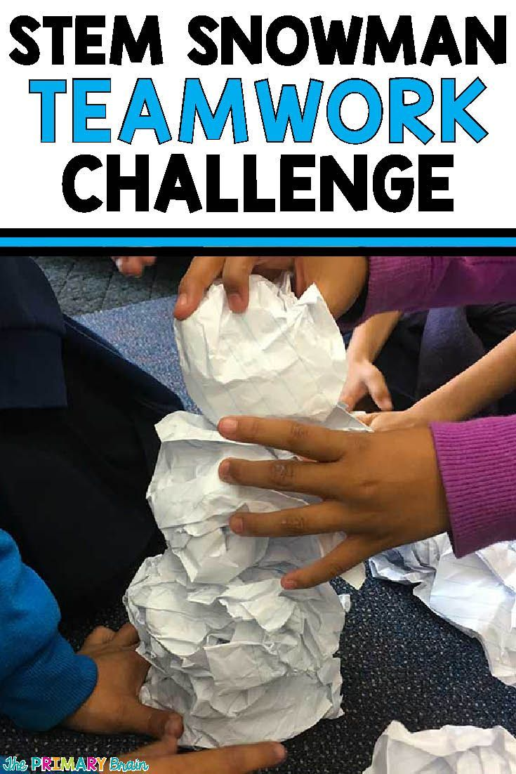 Stem Snowman Teamwork Challenge - Build the tallest snowman before the time runs out. First grade students learn about teamwork after reading a story about building a snowman. #stem #science #firstgrade