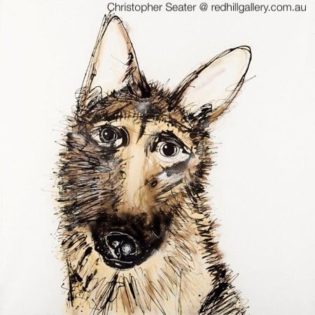 "Christopher Seater, painting of dog ""Zac"". Red Hill Gallery, Brisbane. redhillgallery.com.au"
