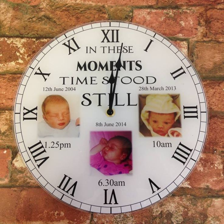 In these moments time stood still clock.Personalised clock Our personalised clocks have the 'WOW' factor and are even more stunning in real life! Clocks are Approx 30cm x 30cm diameter, with a working clock mechanism and antique style hands, printed onto a 3mm acrylic using top of the range photo printers to ensure maximum photo quality. (Clocks take one AA battery, battery not included)
