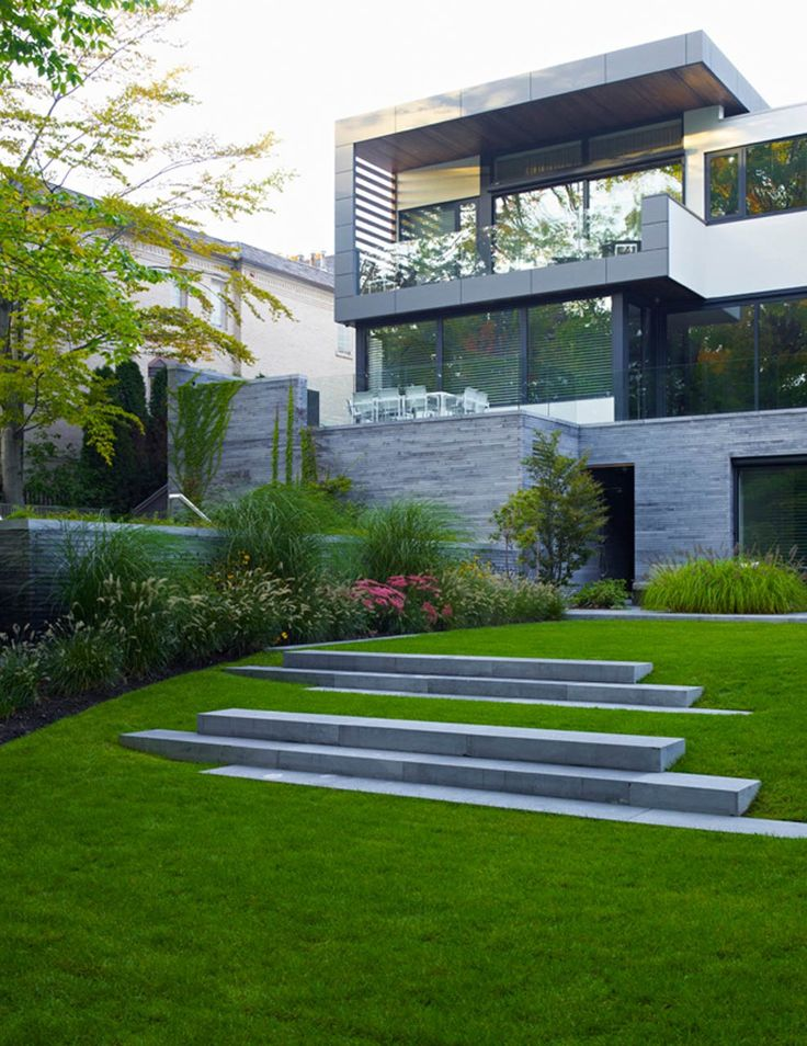 contemporary city garden incorporating stone steps into the lawn & adding another element to the garden