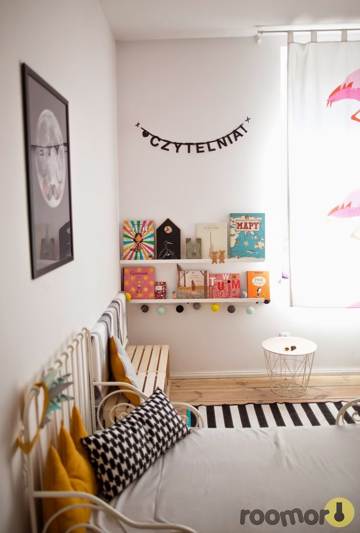 roomor!: reading corner, kid's room, crates, cotton ball lights, made for bed, kid's space, moon, letters,