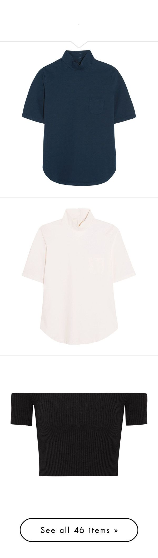 """""""."""" by erikaje ❤ liked on Polyvore featuring tops, t-shirts, storm blue, jersey t shirt, blue jersey, blue tee, frame jersey, blue top, white jersey and white turtleneck top"""
