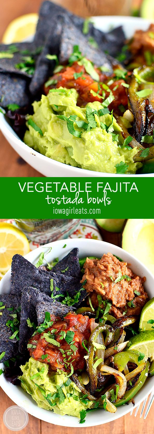 Vegetable Fajita Tostada Bowls are a mix of vegetable fajitas and filling tostadas. Fresh, healthy, and ready in 20 minutes! #glutenfree #dairyfree #vegetarian | iowagirleats.com