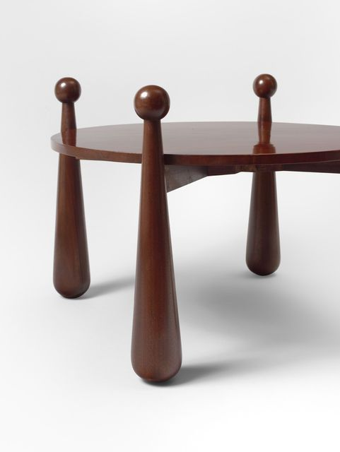 """Jean Royère; Oak """"Quille"""" Occasional Table, c1960."""