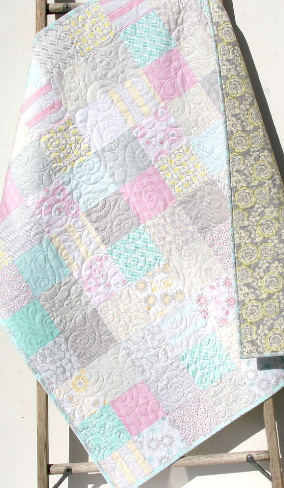 Shabby Chic Baby Girl Quilt, Cottage Style, Pastel Light Pink Aqua Grey White Gray, Child Youth Crib Cot Bedding, Willow LAST ONE by SunnysideDesigns2