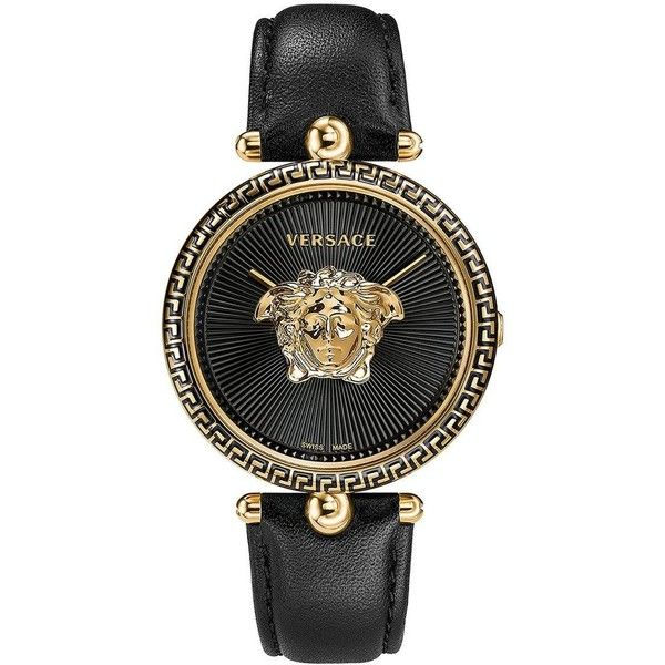Versace Versace Palazzo Empire Black Dial Black Leather Strap Ladies... ($1,280) ❤ liked on Polyvore featuring jewelry, watches, versace watches, black face watches, buckle watches, leather-strap watches and versace