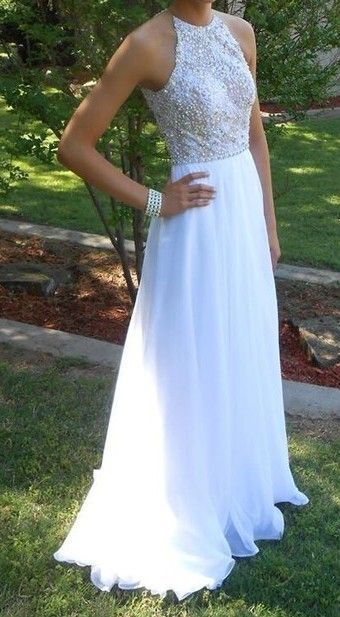 Cute white long chiffon A-line prom dress with beaded