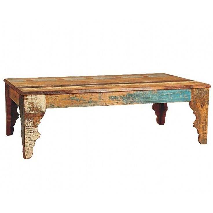 Chimney Rock Distressed Wood Coffee Table With Splashes Of Color