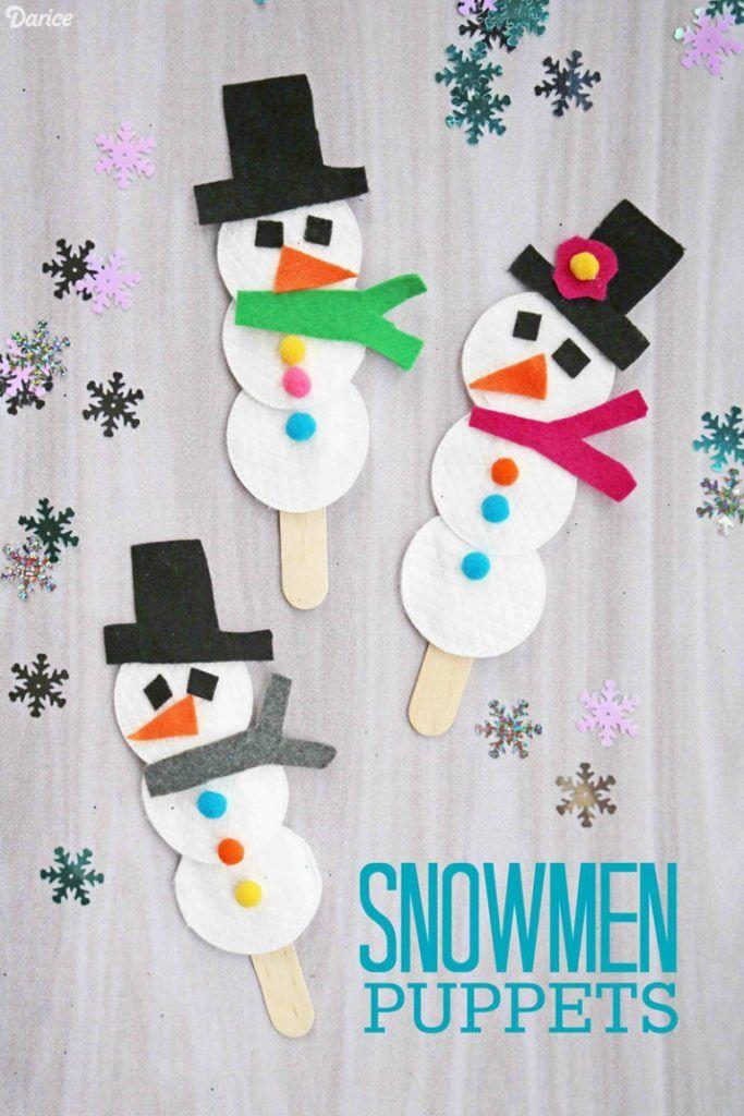 Cotton Pad Snowmen Puppets - Kid Craft