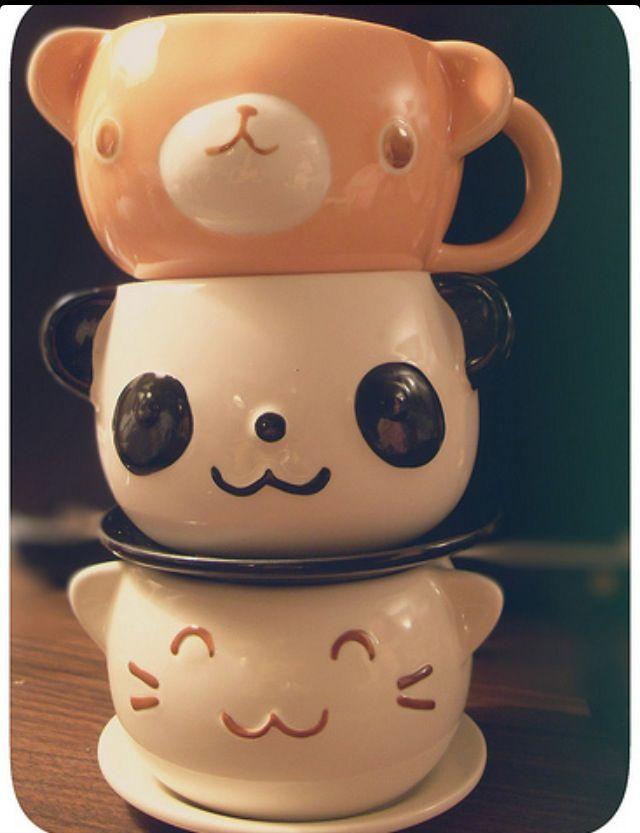 Bear panda cat mugs mugs pinterest for Animal face mugs
