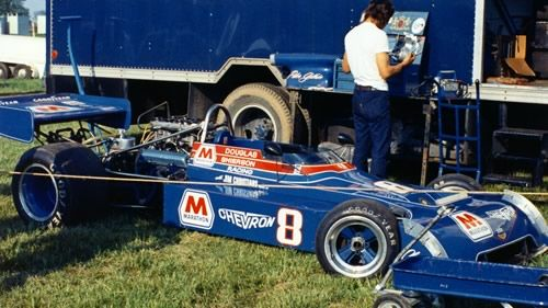 Peter Gethin's Marathon Oils Chevron B24 in the paddock at Mid-Ohio in 1973. Copyright Terry Capps 2013