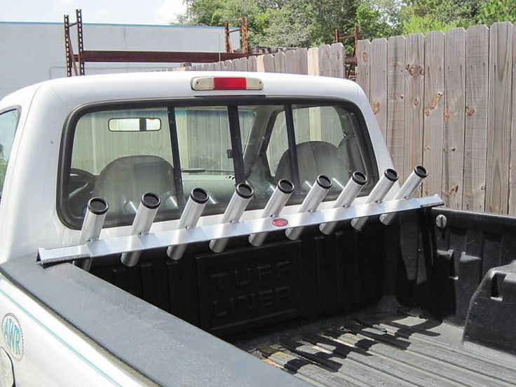 Truck bed rail fishing rod holder all aluminum for small for Truck bed fishing rod holder