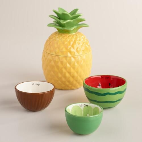 Featuring your favorite tropical fruit in vivid colors, our exclusive ceramic measuring cups nest for easy storage and look great on the countertop.
