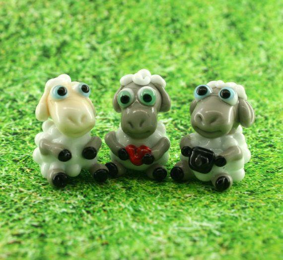 Sheep Lampwork  sculpture / miniature / figurine by Myhappyhobby on Etsu