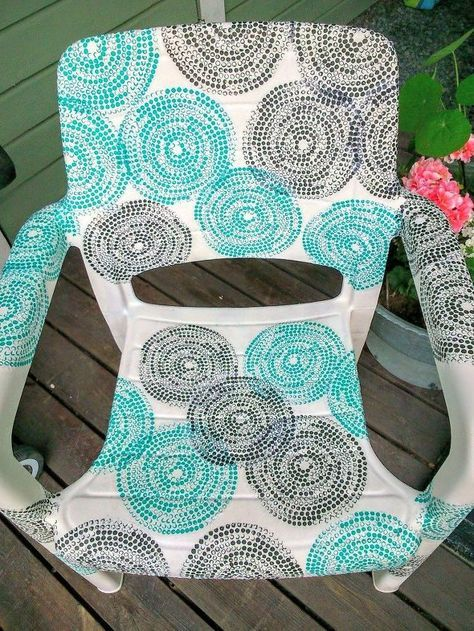 garden chair covered with ikea napkins, home decor, painting, ponds water features, shabby chic