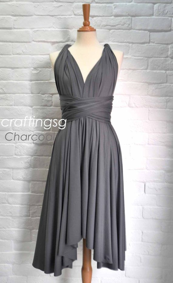 Bridesmaid Dress Infinity Dress Charcoal Grey Knee Length