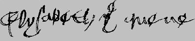 "The signature of Henry VII's wife, Elizabeth of York: ""Elysabeth the Quene"""