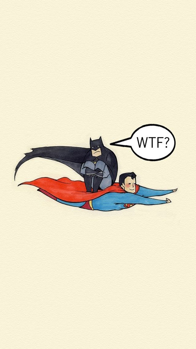 Superman Carrying Batman WTF iPhone 5 Wallpaper