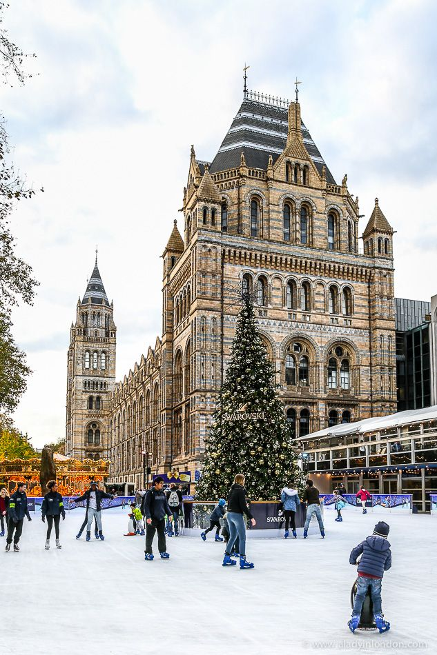 Ice skating rink at the Natural History Museum in London, England #iceskating #london #naturalhistorymuseum